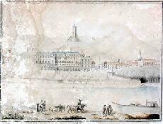 Château de La Roche-Guyon, aquarelle, vue de face, fin du XVIIIème siècle (archives départementales du Val d'Oise)