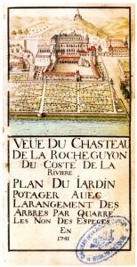 Château de La Roche-Guyon et potager, vue cavalière, 1741 (archives départementales du Val d'Oise)