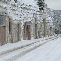 Les Boves sous la neige à La Roche-Guyon